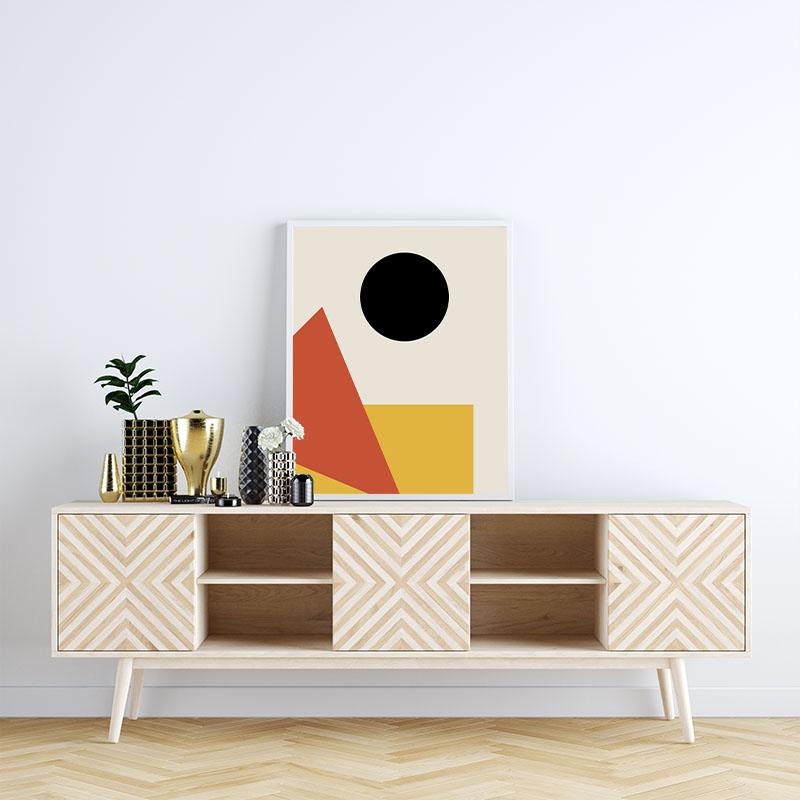 Red yellow black coloured minimalist geometric rectangle triangle circle free downloadable printable wall art, digital print