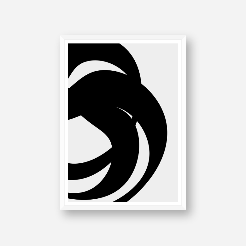 Black abstract shapes with grey background minimalist free downloadable printable wall art, digital print