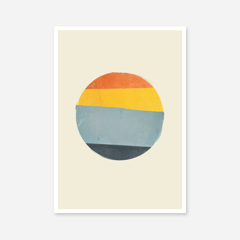 Red yellow and blue striped ball like design with concrete painted wall texture free downloadable printable wall art