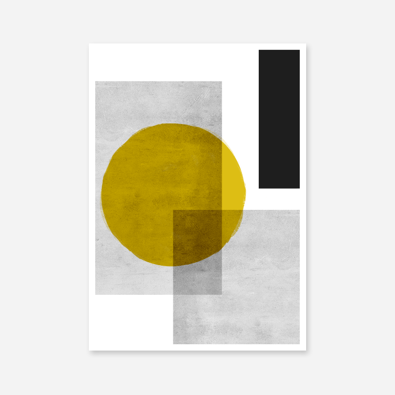 Grey concrete wall and black rectangles with brown watercolour circle abstract geometric wall art