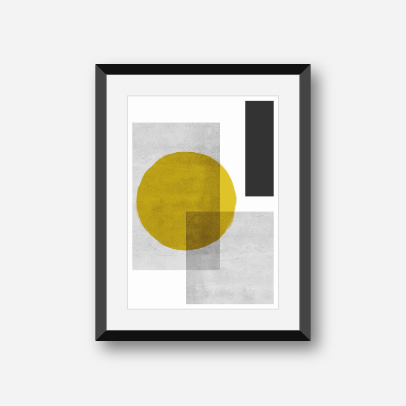 Grey concrete wall and black rectangles with brown watercolour circle abstract geometric wall art, digital print