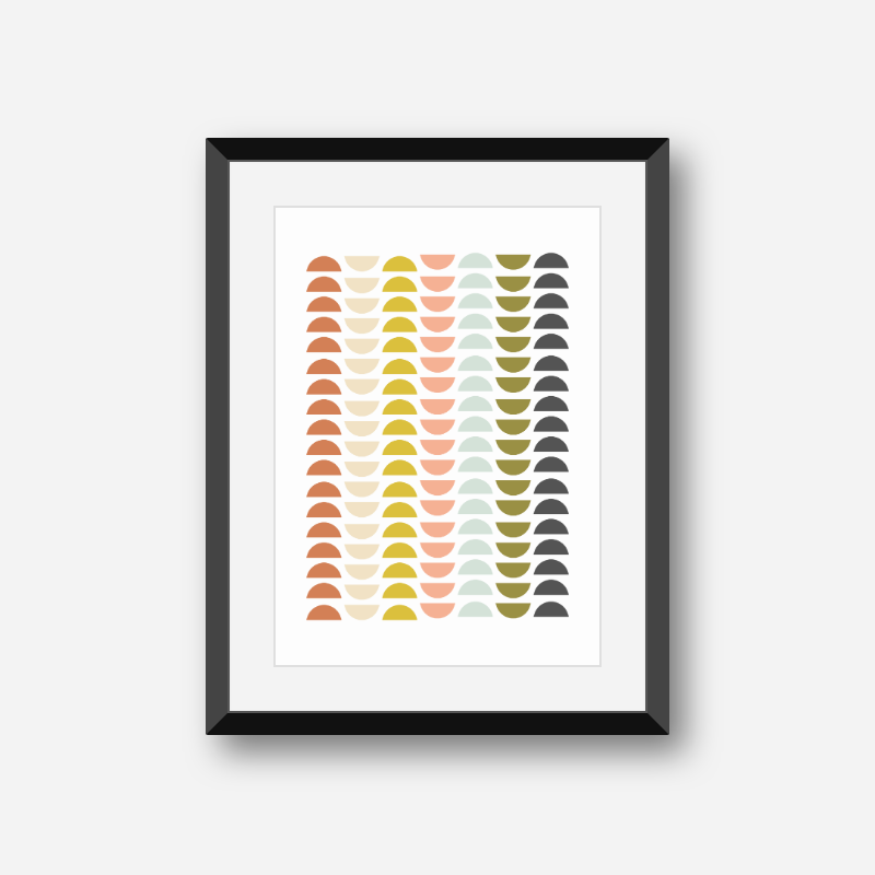 Charcoal grey khaki green with pastel colours mid-century free printable minimalist wall art, digital print