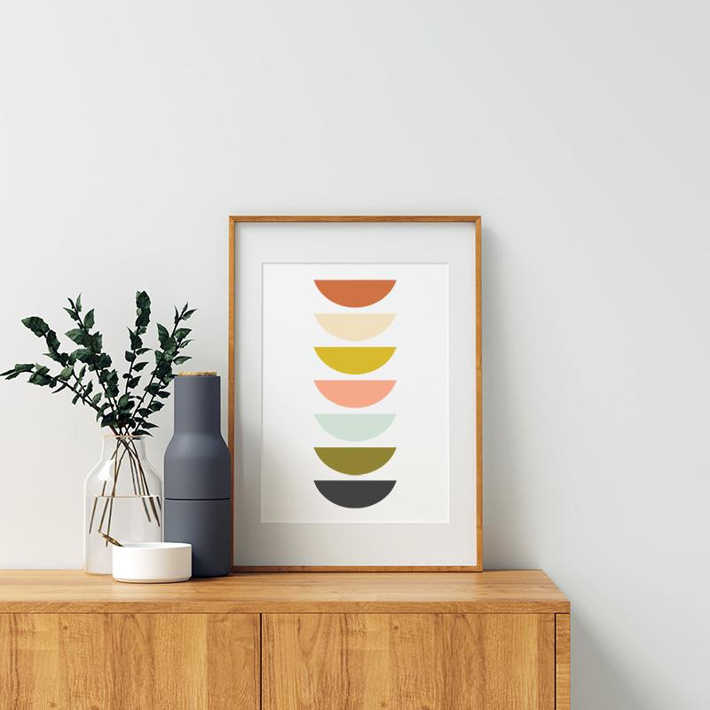 Charcoal grey khaki green pastel colour mid-century free printable minimalist wall art, digital print