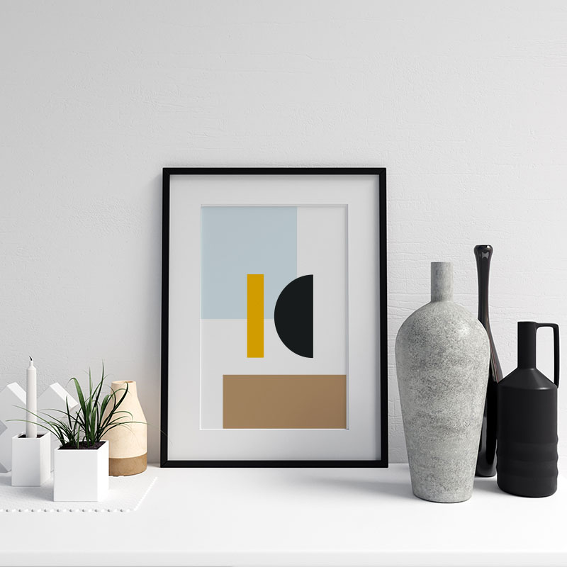 Blue brown yellow and black geometric rectangle half circle abstract minimalist Nordic style free printable wall art, digital print