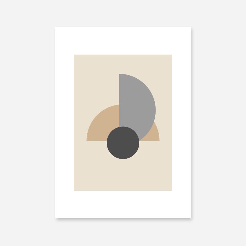 Light brown and grey half circles with charcoal circle abstract minimalist free printable wall art