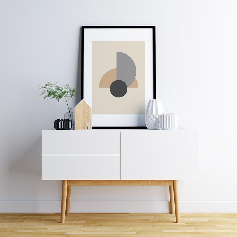 Light brown and grey half circles with charcoal circle abstract minimalist free printable wall art, digital print