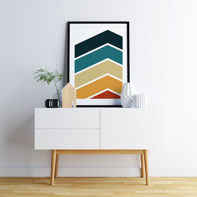 Red orange brown teal green and dark grey coloured chevrons abstract free downloadable printable wall art, digital print