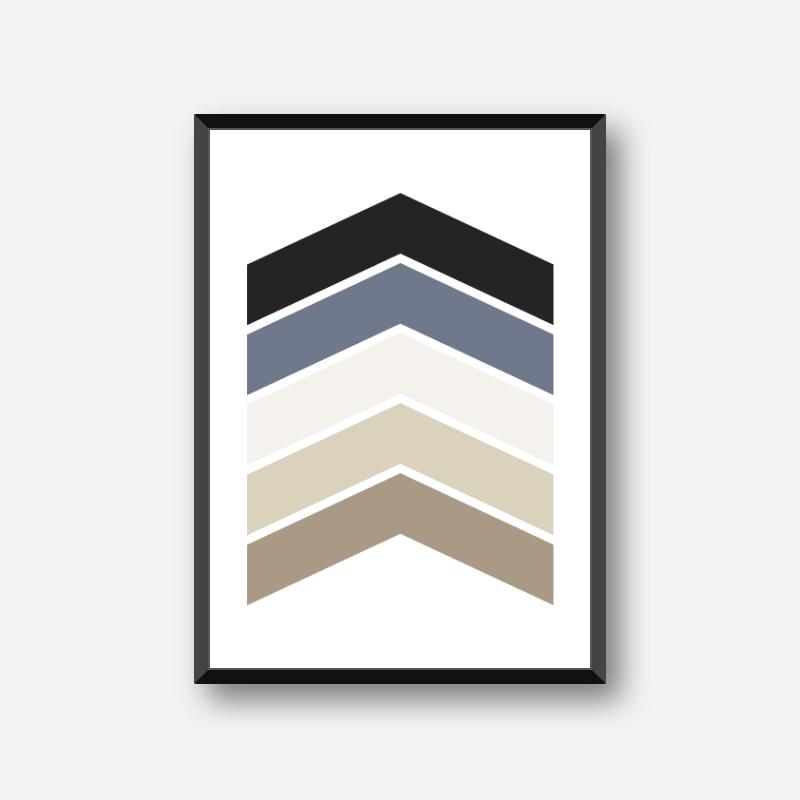 Black blue and brown chevrons geometric Nordic Scandinavian style minimalist free printable wall art, digital print