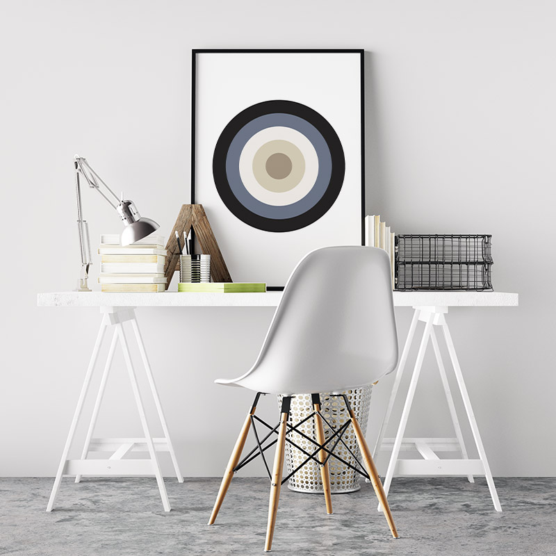 Black blue and brown circle target board like geometric Nordic Scandinavian style minimalist free printable wall art, digital print