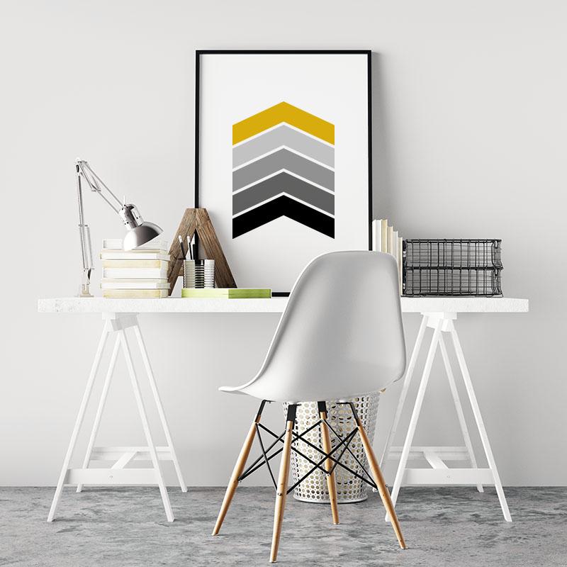 Black grey and yellow chevrons geometric Nordic Scandinavian style minimalist free printable wall art, digital print
