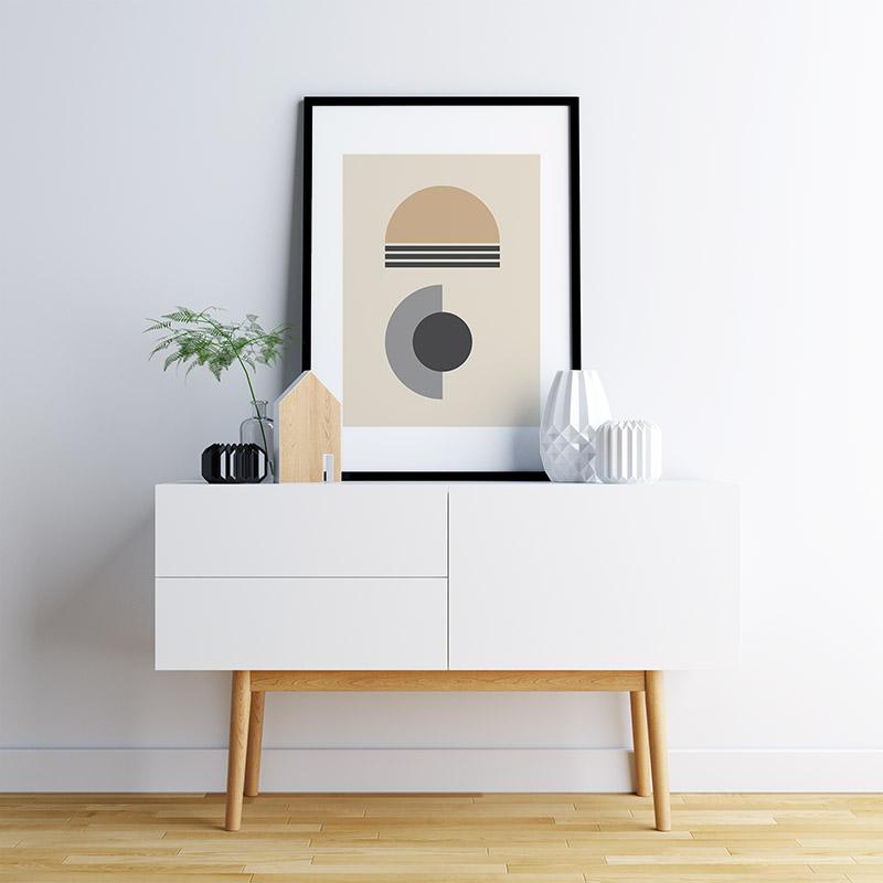 Light brown and grey half circles with charcoal circle and lines abstract minimalist free printable wall art, digital print