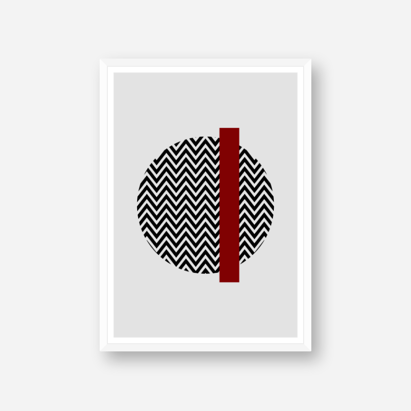 Black wave circle and dark red rectangle with grey background abstract minimalist free downloadable printable wall art