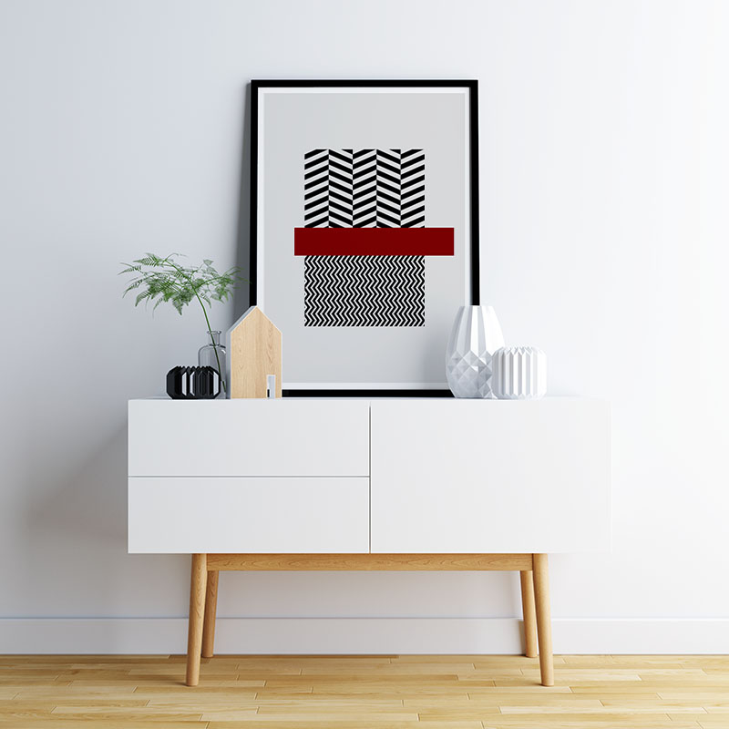 Black wave rectangles and dark red rectangle with grey background abstract minimalist free downloadable printable wall art, digital print