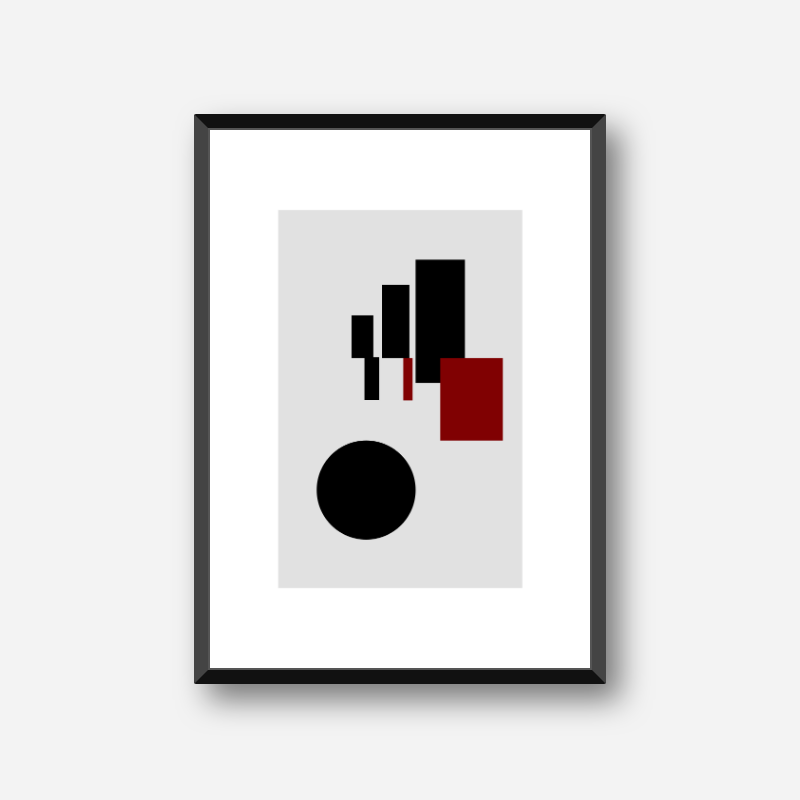 Black and red rectangles and circle with grey background abstract minimalist free downloadable printable wall art, digital print