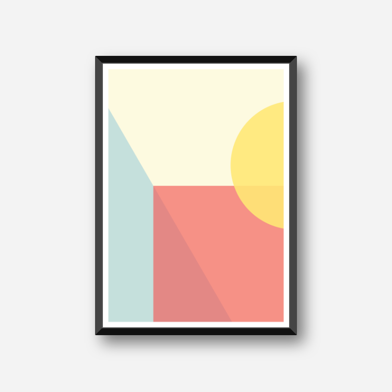 Light green, yellow and pink coloured rectangles and half circle geometric abstract minimalist free downloadable printable wall art, digital print