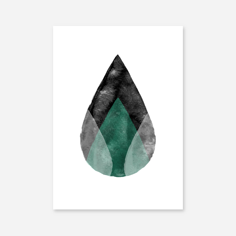 Black white and green abstract watercolour drops Scandinavian downloadable wall art