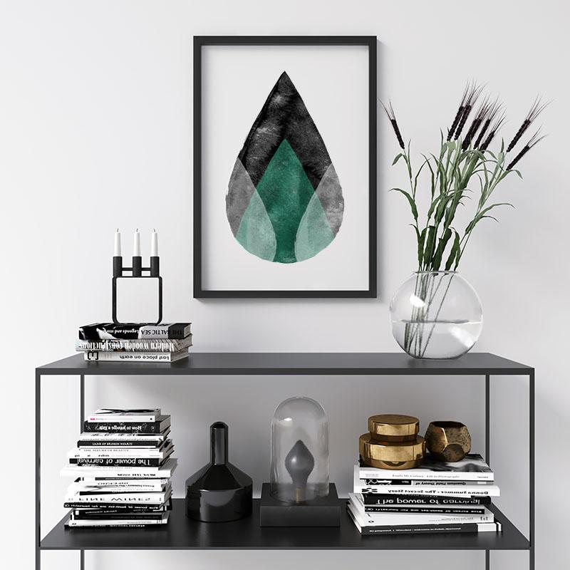 Black white and green abstract watercolour drops Scandinavian downloadable wall art, digital print