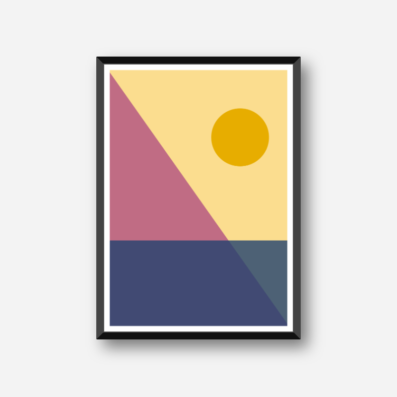 Yellow purple blue pink triangle rectangle circle geometric abstract minimalist free downloadable printable wall art