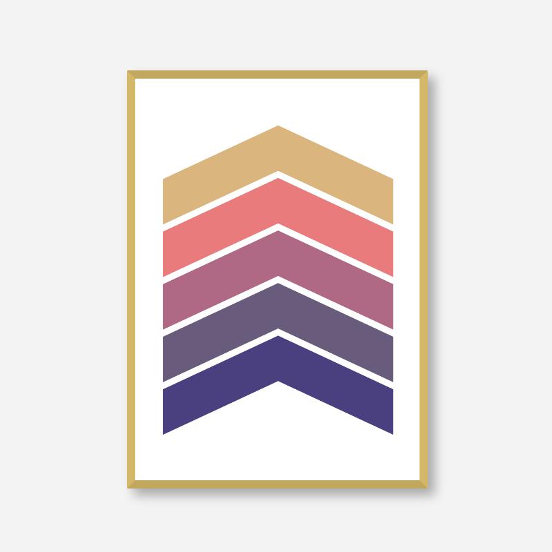 Brown purple pink and blue chevrons colour swatch minimalist Scandinavian Nordic style downloadable printable wall art, digital print