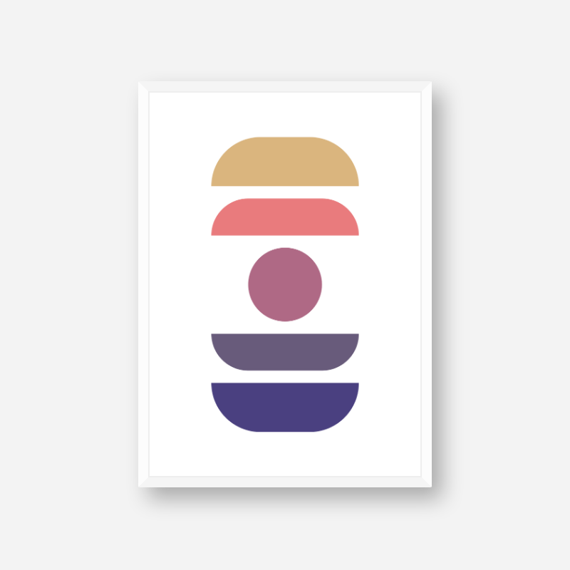 Brown purple pink and blue abstract shapes and circle colour swatch minimalist downloadable printable wall art, digital print