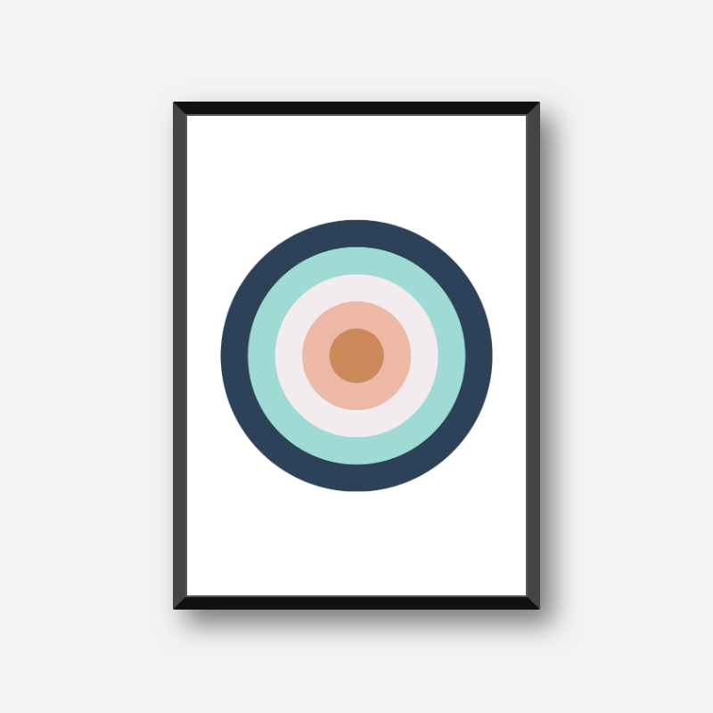 Brown light brown turquoise and black circles target board colour swatch minimalist free downloadable printable wall art, digital print