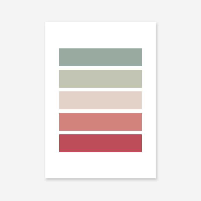 Red light red green and light green rectangles colour swatch minimalist free downloadable printable wall art