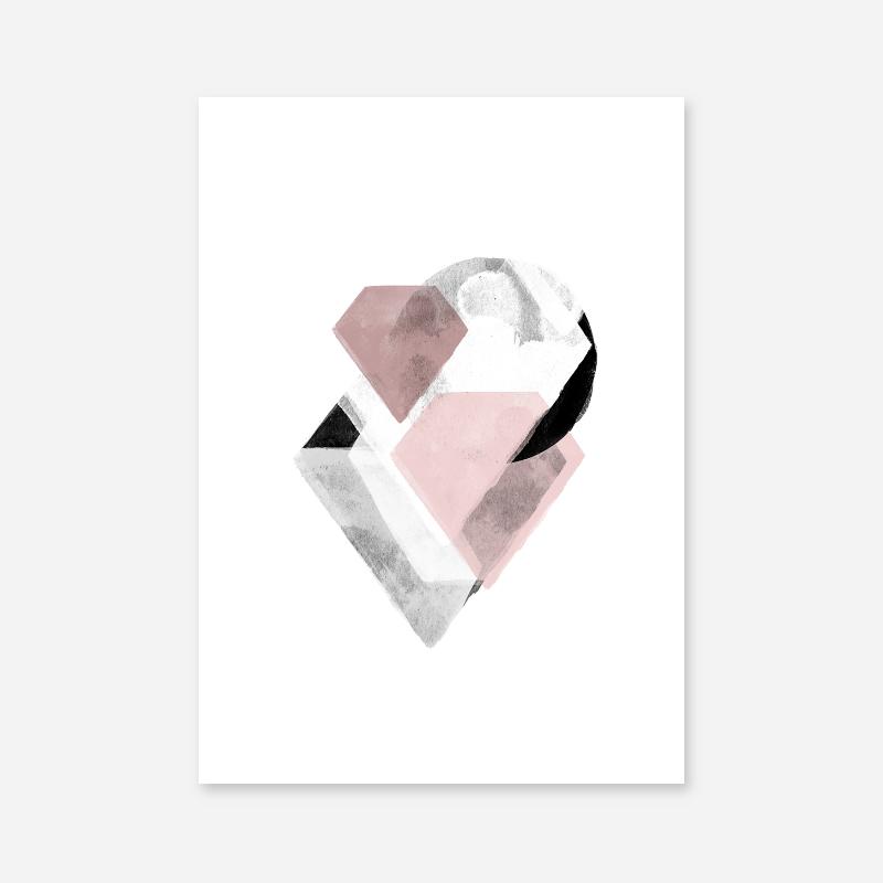 Grey and pink abstract watercolour Scandinavian downloadable wall art