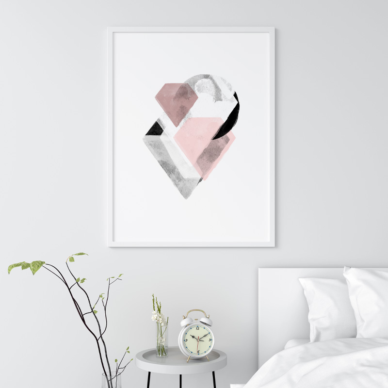 Grey and pink abstract watercolour Scandinavian downloadable wall art, digital print